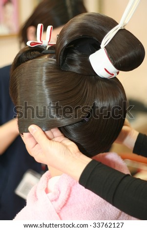Japanese hair decorations (kanzashi) - stock photo