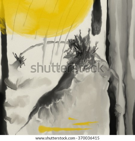 Japanese ink abstraction. Abstract painting, wet on wet ink, Japanese style, square composition, black and yellow colors.