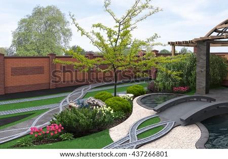 Japanese inspired garden, 3d render - stock photo