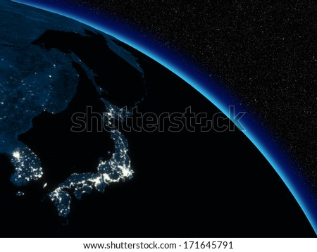 Japanese islands at night on planet Earth viewed from space. Highly detailed planet surface with city lights. Elements of this image furnished by NASA. - stock photo