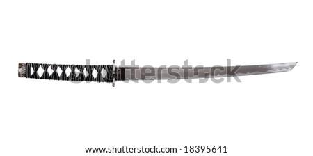 Japanese Katana - Steel Sword On White Background - stock photo