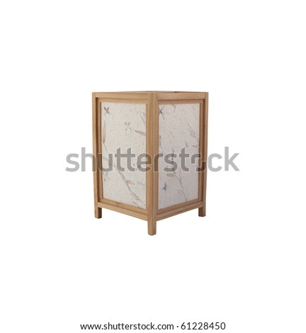 Japanese lantern with hand made paper impressed with flowers and leaves - stock photo