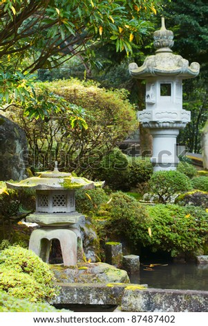 Japanese lanterns in the garden - stock photo