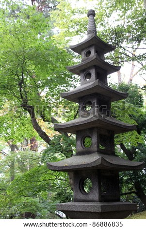 Japanese light tower, Kenrokuen garden, Kanazawa, Japan - stock photo