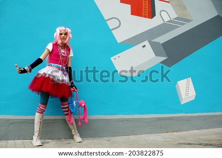 japanese lolita cosplay - stock photo