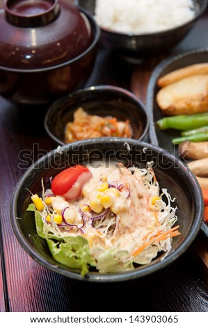 Japanese Lunch set Fish Steak with rice and salad