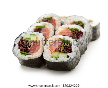 Japanese Maki Sushi - Roll made of Smoked Salmon, Cucumber and Salad Leaf inside. Nori outside