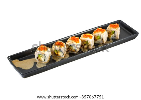 Japanese maki sushi set on black plate