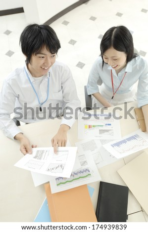 Japanese Man and Woman who carry out the meeting