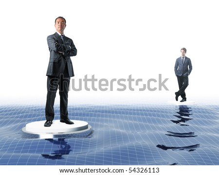 japanese manager and young businessman on virtual sea web - stock photo