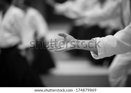 Japanese martial arts - aikido practice - stock photo