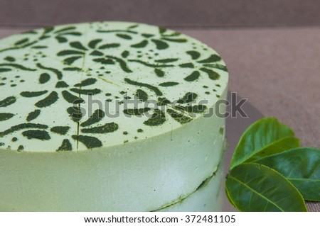 Japanese matcha green tea cake - stock photo