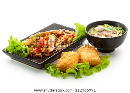 Japanese Meal - Rice with Chicken Meat, Dessert (Thai Pancake with Pear)  and Miso Soup - stock photo