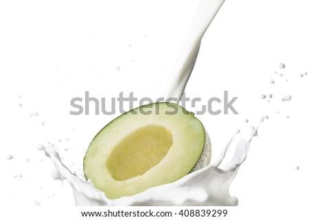 Japanese Melon With Milk Splash - stock photo