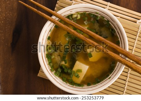 Japanese miso soup - stock photo
