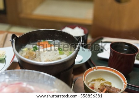 Japanese miso soup (Selective focus on soup)