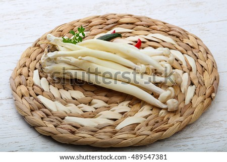 Japanese mushroom - enoki raw food ready for cooking