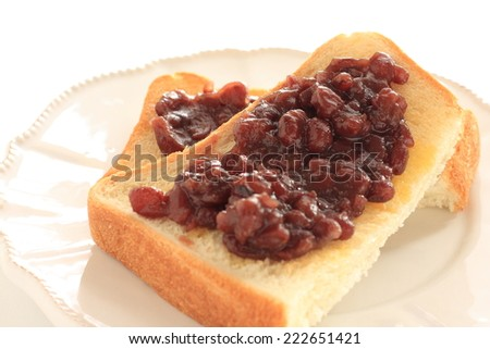Japanese Nagoya regional food, red bean paste on butter toast