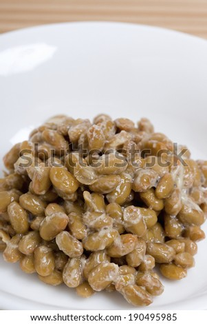 Japanese Natto, fermented soy beans for breakfast  - stock photo