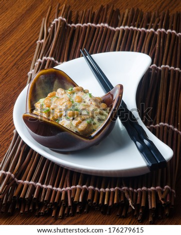 japanese natto on a background - stock photo