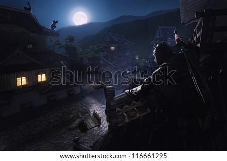 Japanese Ninja Samurai on the roof of the castle - stock photo