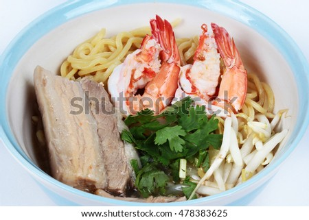 "Japanese noodle ""ramen"" topped steamed streaky pork and shrimp in pork's bone soup.Close up"