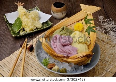 Japanese noodle  Udon ,Ramen  Food and Japanese food  - stock photo