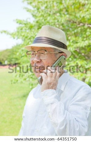 Japanese old man talking on mobile phones