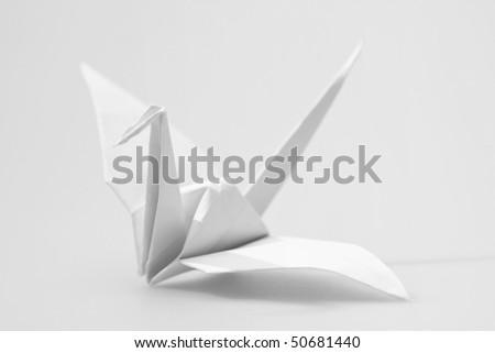 Japanese paper craft origami bird - stock photo