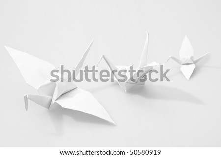 Japanese paper craft origami birds - stock photo