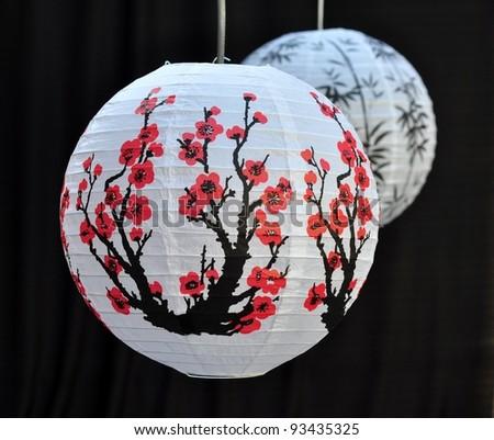Japanese paper lantern - stock photo