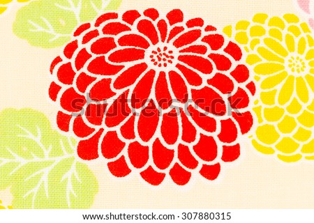 Japanese pattern of flower on fabric, Seamless Japanese pattern, Colorful pattern chrysanthemum on cream fabric background,  Dendranthemum grandifflora,  - stock photo