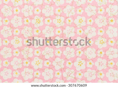 Japanese pattern white cherry blossomsr on paper background