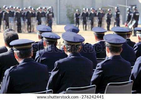 Japanese police ceremony, Sietusiki - stock photo