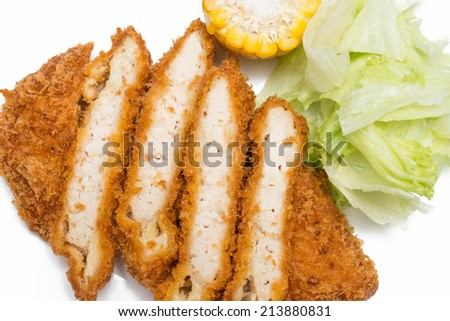 Japanese pork cutlet Tonkatsu isolated on white background - stock photo