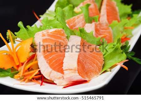 Japanese raw fish with vegetables
