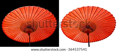 Japanese red paper umbrella isolated on black and white background. - stock photo