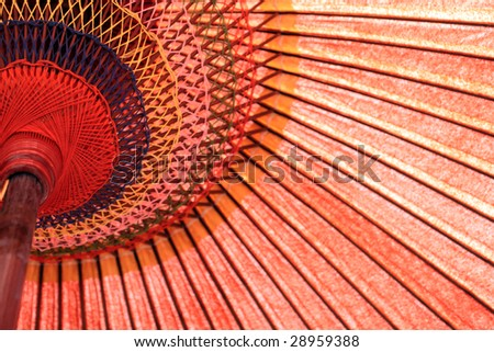Japanese red umbrella from below - stock photo