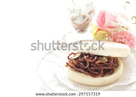 Japanese regional food, Otayakisoba and English muffin sandwich - stock photo