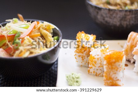 Japanese restaurant sushi oriental raw fish smoked salmon food dish and traditional Asian wooden chopsticks photo.
