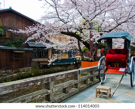 Japanese rickshaw with sakura in Gion district, Kyoto, Japan - stock photo