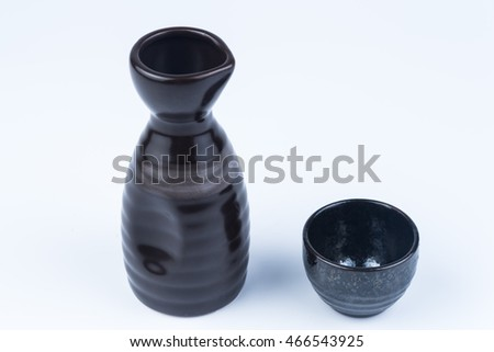 Japanese sake bottle and cup