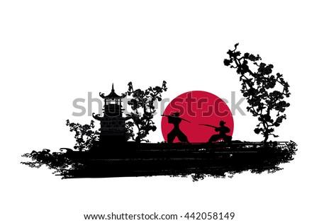Japanese Samurai fighter silhouette - stock photo