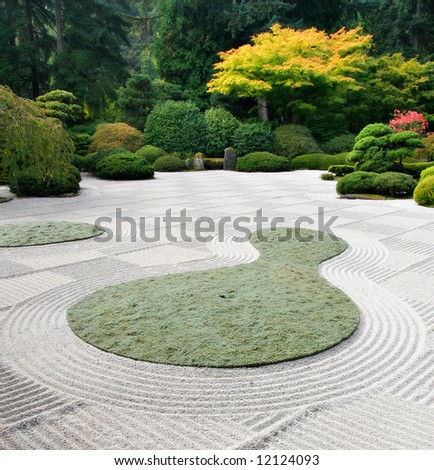 Japanese Sand Garden Portland Oregon - stock photo