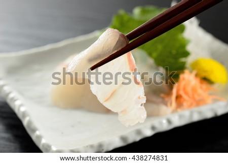 japanese sashimi of bastard halibut - stock photo
