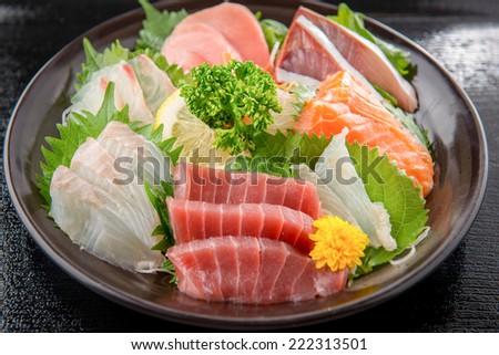japanese sashimi raw fish - stock photo