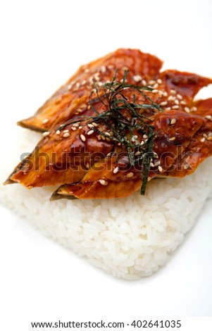 Japanese sauce with sea eel, sesame seeds and white boiled rice