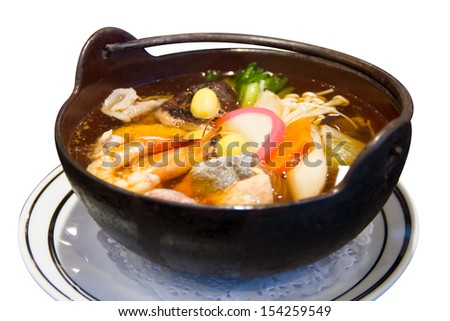 japanese seafood soup, asian cuisine. - stock photo