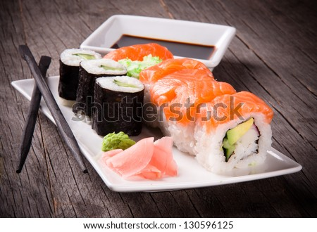 Japanese seafood sushi - stock photo
