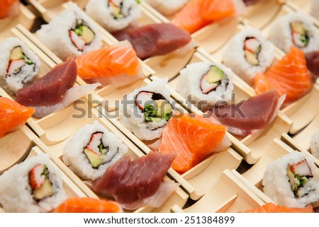 Japanese seafood sushi, ready to be served - stock photo